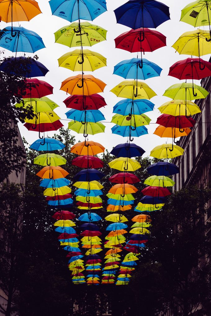 colorful umbrellas - mindfulness to optimize the creative process