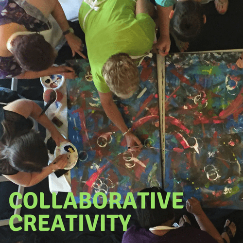 collaborative creativity - group painting together on canvas