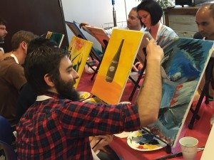 painting at corporate team building event