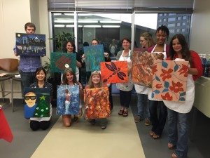 final paintings at corporate teambuilding event