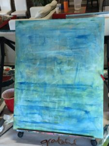 Not-knowing mindset painting in blue