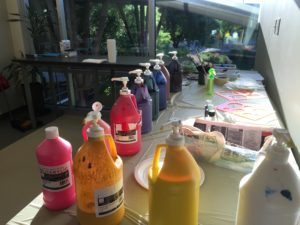 paint bottles for creative team building event